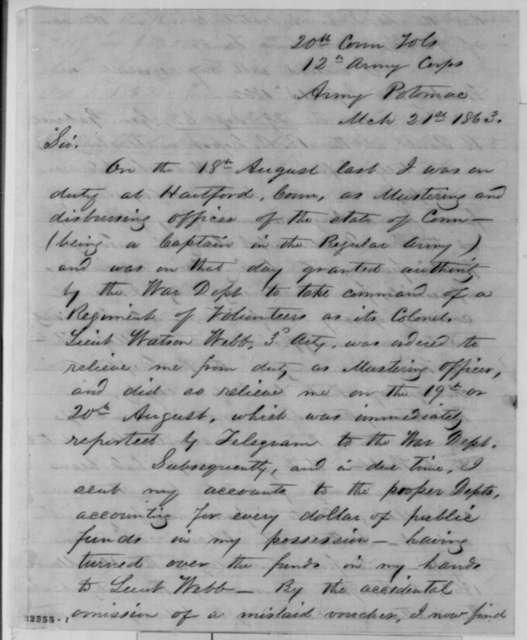 Samuel Ross to John G. Nicolay, Saturday, March 21, 1863  (Confusion over a draft issued in his name; endorsed by W.A. Nicholas, May 2, 1863 and the assistant adjutant general)