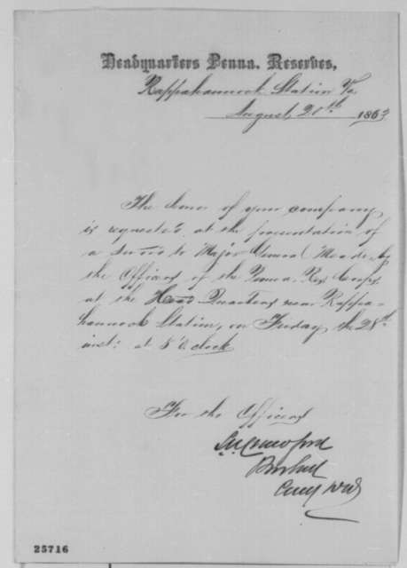 Samuel W. Crawford to Abraham Lincoln, Thursday, August 20, 1863  (Invitation to attend ceremony in honor of General Meade)
