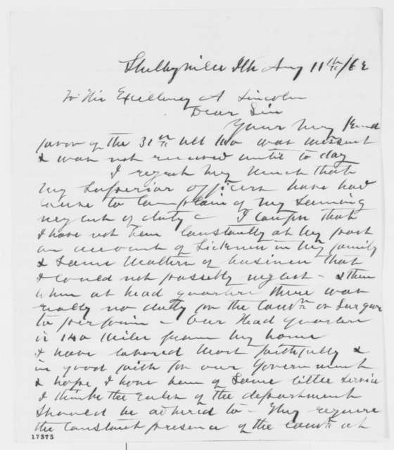 Samuel W. Moulton to Abraham Lincoln, Tuesday, August 11, 1863  (Resignation)