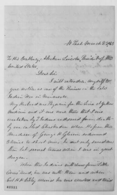 Sarah F. Wakefield to Abraham Lincoln, Monday, March 23, 1863  (Sioux uprising in Minnesota)