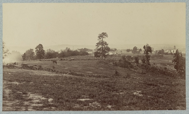 Scene of the charge of the Louisiana Tigers. View taken from Cemetery Hill at about position of right gun of Wiedrich's (i. e. Weidrich's) Battery