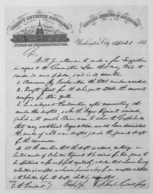 Schuyler Colfax to Abraham Lincoln, Tuesday, April 21, 1863  (Conscription)