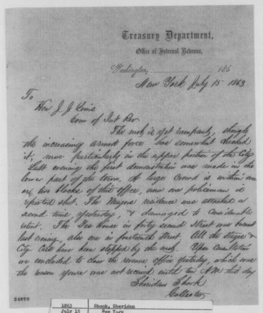 Sheridan Shook to Joseph J. Lewis, Wednesday, July 15, 1863  (New York draft riot)
