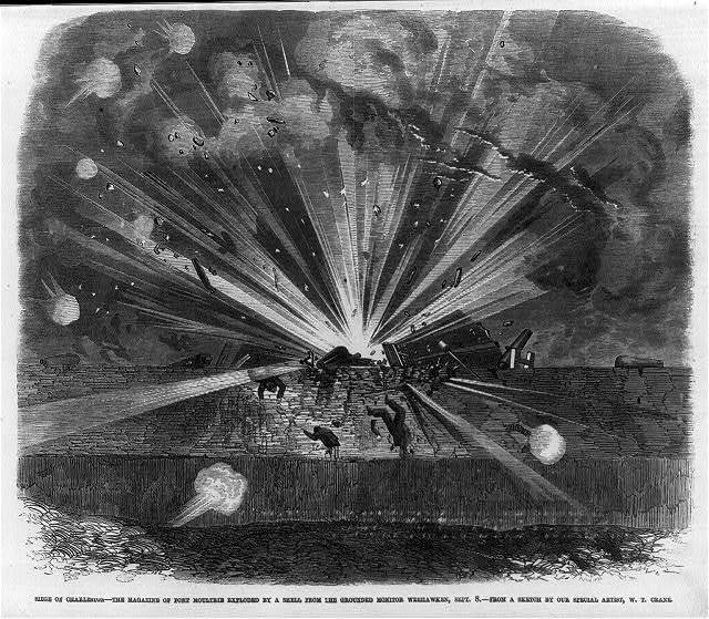 Siege of Charleston - the magazine of Fort Moultrie exploded by a shell from the grounded MONITOR WEEHAWKEN, Sept. 8, [1863]