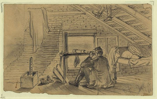 Signal officers, in attic of farm house, watching the army of General Lee near Williamsport, Maryland