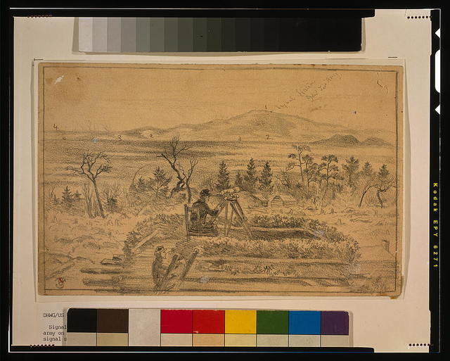 [Signal officers watching the camps of Gen. Lee's army on the south side of the Rapidan River, from the signal station on Poney Mountain] / E.F.