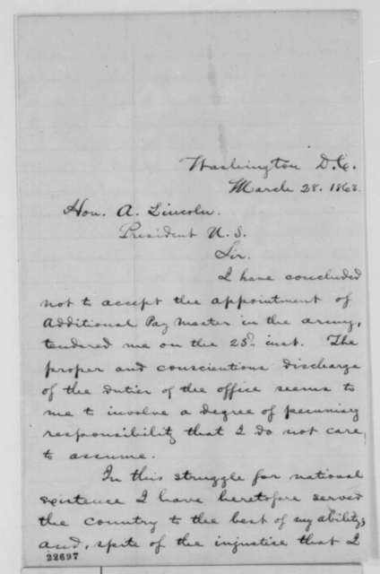 Silas Noble to Abraham Lincoln, Saturday, March 28, 1863  (Declines appointment)