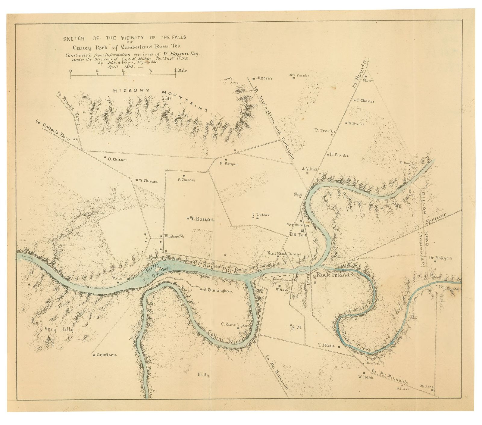 Sketch of the vicinity of the Falls of Caney Fork of Cumberland River, Ten. /