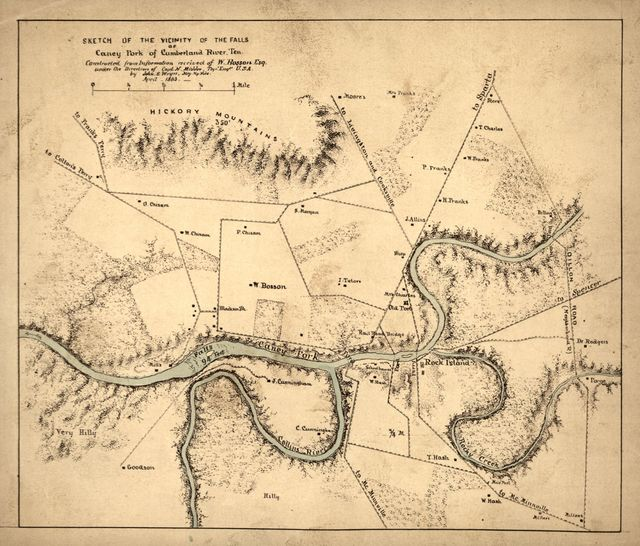 Sketch of the vicinity of the falls of Caney Fork of Cumberland River, Ten. [sic] /