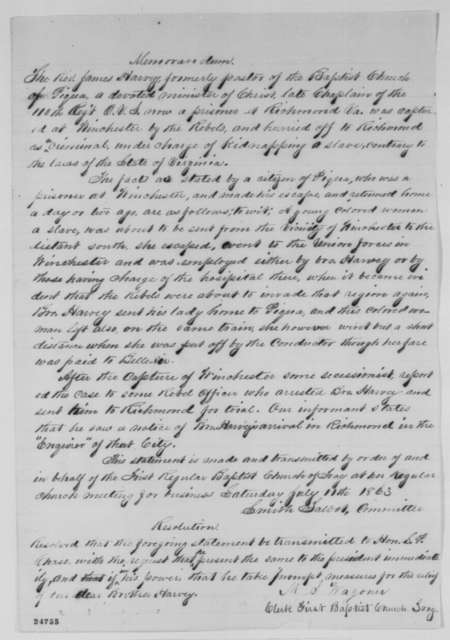 Smith Talbot, Saturday, July 11, 1863  (Memorandum and resolution on behalf of James Harvey from the Troy, Ohio First Baptist Church)