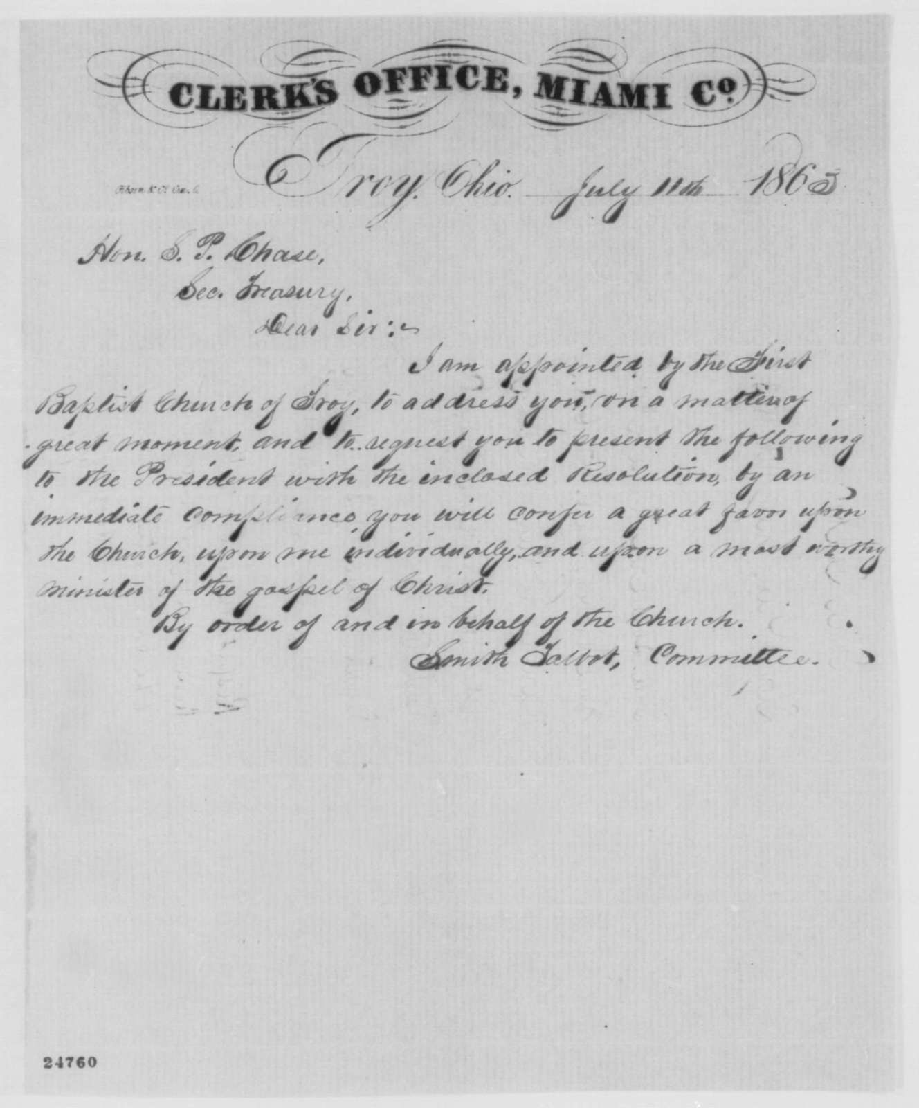 Smith Talbot to Salmon P. Chase, Saturday, July 11, 1863  (Sends papers on behalf of James Harvey; endorsed by Chase, July 16, 1863)
