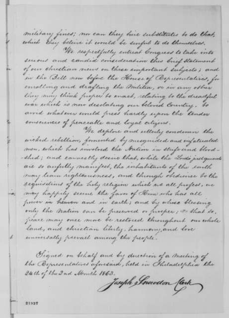 Society of Friends to Congress, Tuesday, February 24, 1863  (Memorial requesting exemption from conscription)