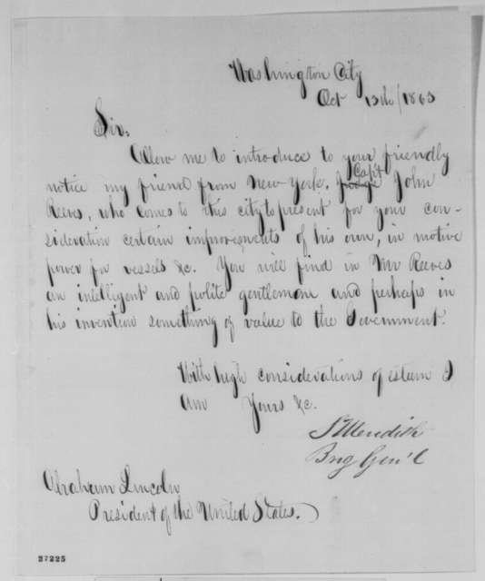 Solomon Meredith to Abraham Lincoln, Tuesday, October 13, 1863  (Introduces John Reeves)