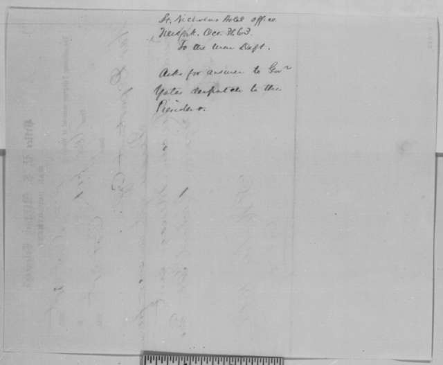 St. Nicholas Hotel to War Department Office, Saturday, October 31, 1863  (Telegram requesting reply to message from Richard Yates)
