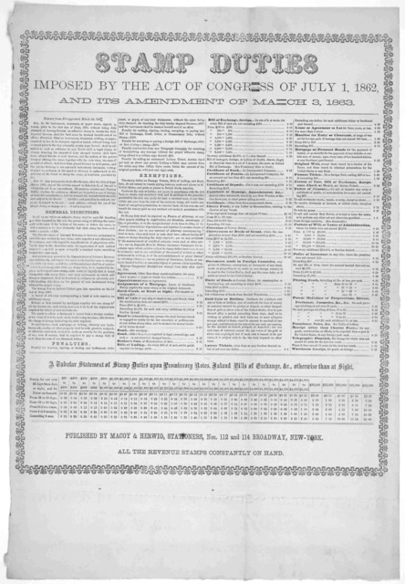 Stamp duties imposed by the act of Congress of July 1, 1862 and its amendment of March 3, 1863. New York: Published by Macoy & Herwig, stationers. [c. 1863].