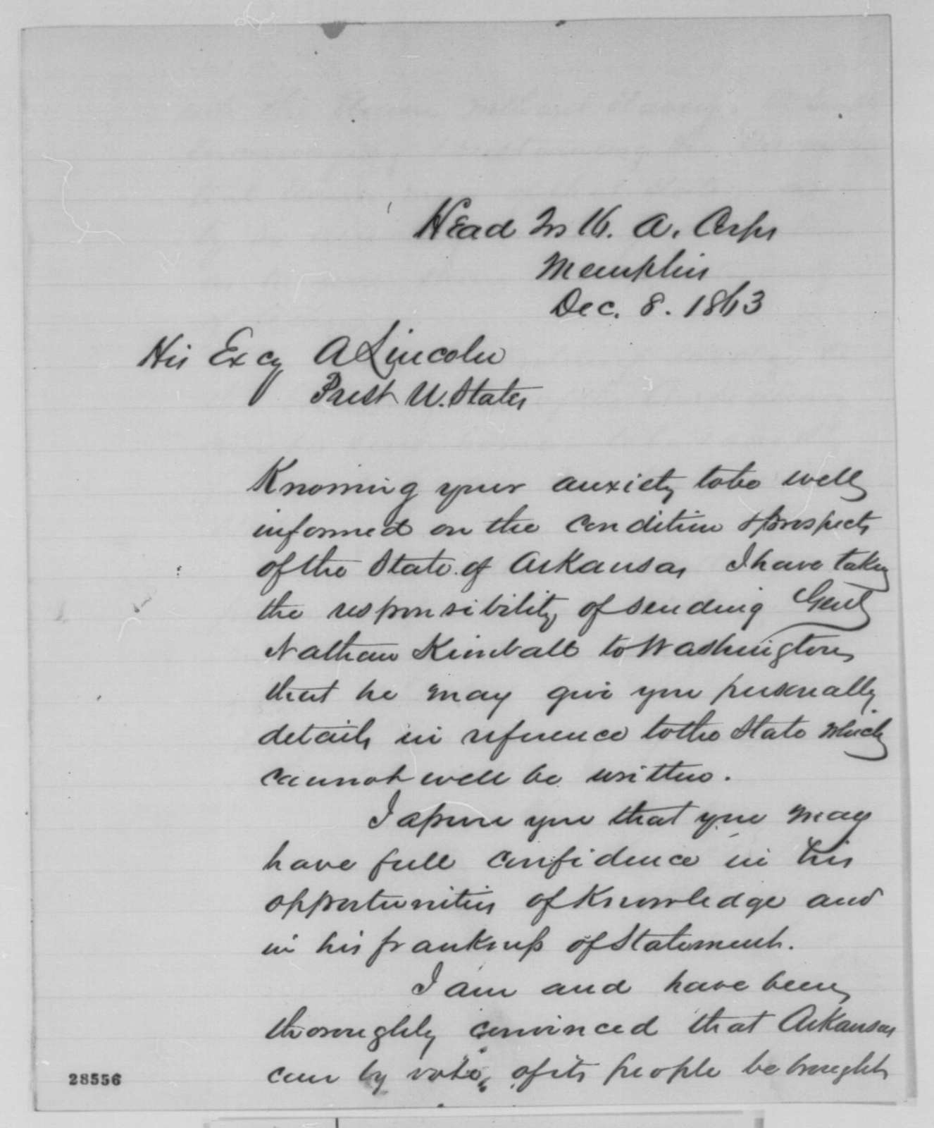 Stephen A. Hurlbut to Abraham Lincoln, Tuesday, December 08, 1863  (Affairs in Arkansas)