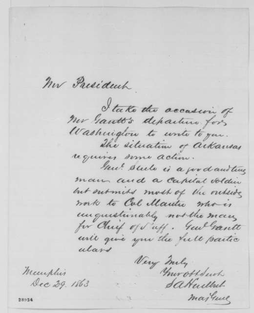 Stephen A. Hurlbut to Abraham Lincoln, Tuesday, December 29, 1863  (Affairs in Arkansas)