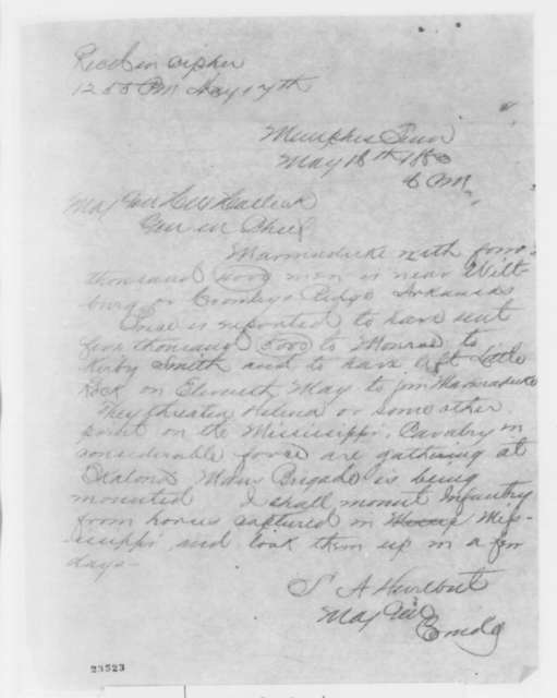 Stephen A. Hurlbut to Henry W. Halleck, Saturday, May 16, 1863  (Telegram concerning military affairs)
