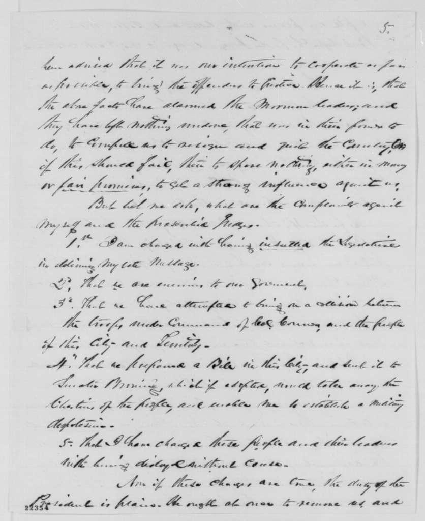 Stephen S. Harding to William H. Seward, Wednesday, March 11, 1863  (Affairs in Utah)