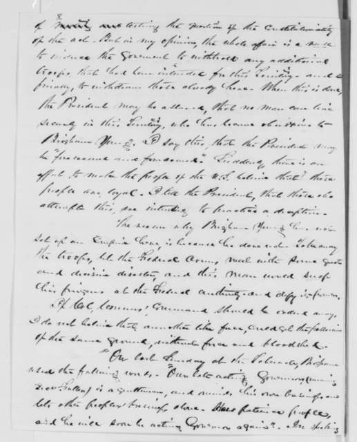 Stephen S. Harding to William H. Seward, Wednesday, March 11, 1863  (Affairs in Utah)