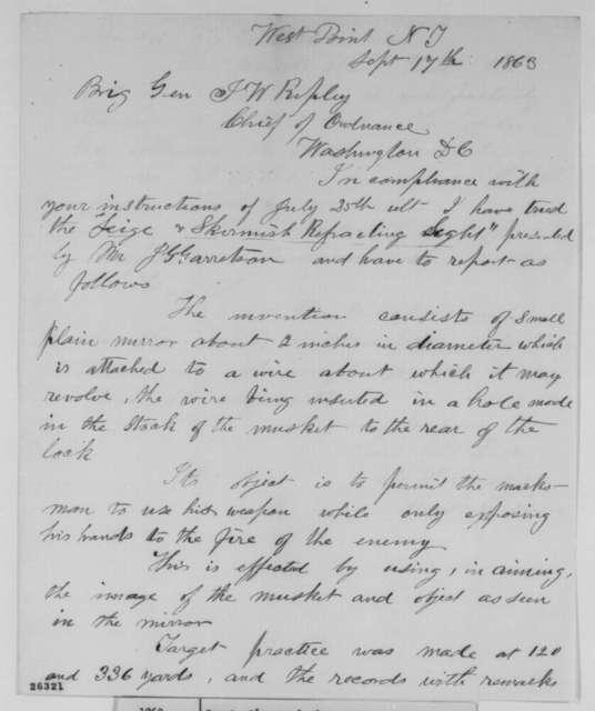 Stephen V. Benet to James W. Ripley, Thursday, September 17, 1863  (Report on J. G. Garretson's rifle sight)