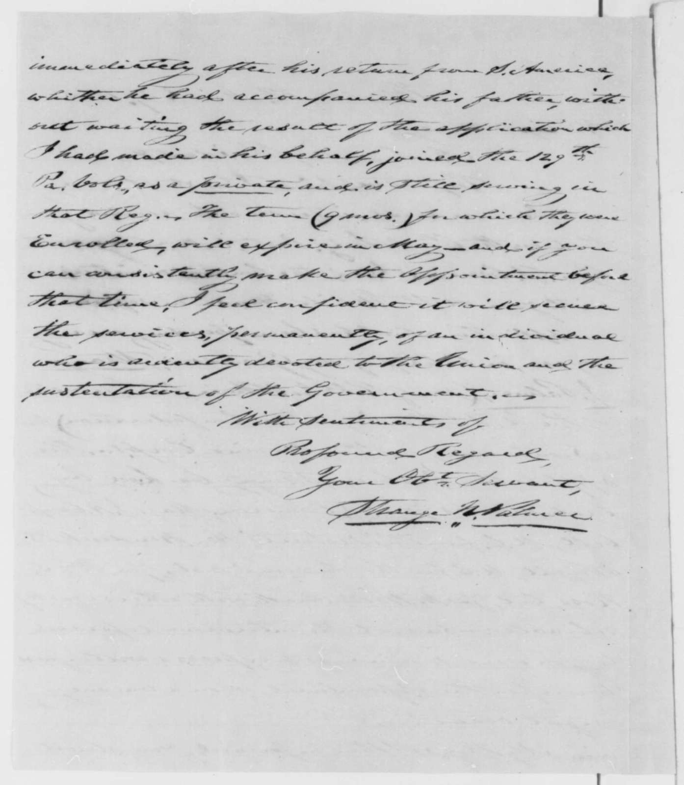 Strange N. Palmer to Abraham Lincoln, Friday, March 27, 1863  (Seeks commission for his grandson)