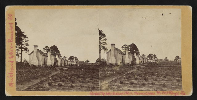 Street and Negro quarters, Perry Clear Point, Point Royal Island, S.C. / photographed by Hubbard & Mix.