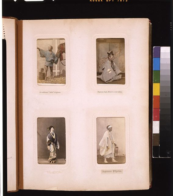 "[Studio portraits of a Japanese ""betto"" (groom), a high official in court attire, a courtesan and a pilgrim or priest, wearing white robes and carrying a bell]"