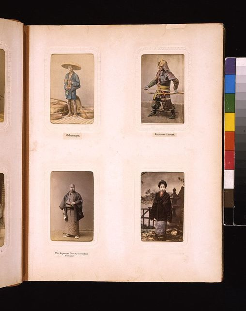 [Studio portraits of  a Japanese fishmonger, a lancer, a doctor and the daughter of a merchant]