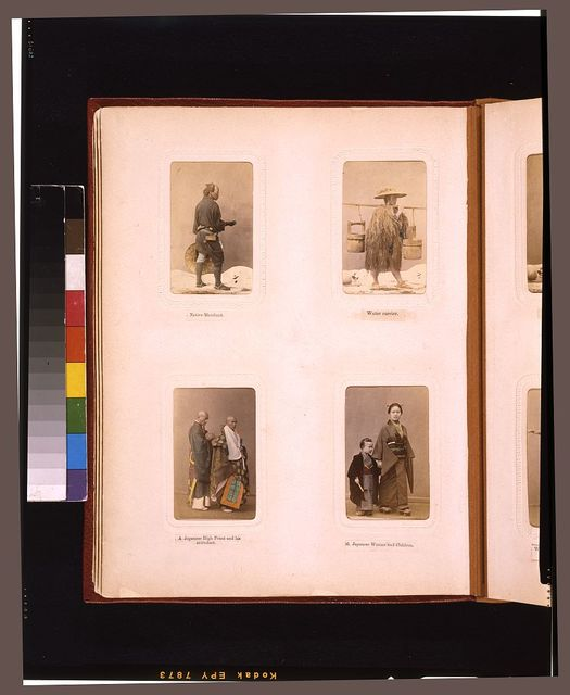 [Studio portraits of a Japanese merchant, a water carrier, a high priest and his attendant,  and a woman with a child]