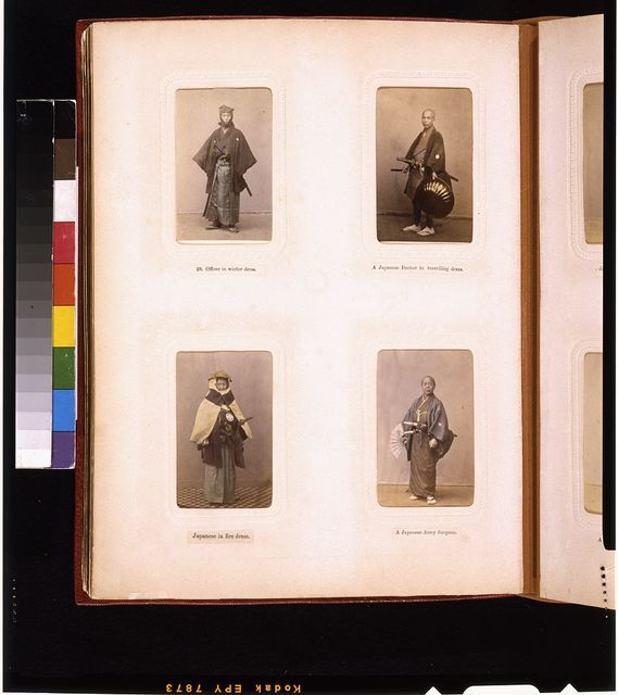 [Studio portraits of a Japanese officer, a doctor in traveling dress, man in fire fighting outfit, and a Japanese army surgeon with fan]