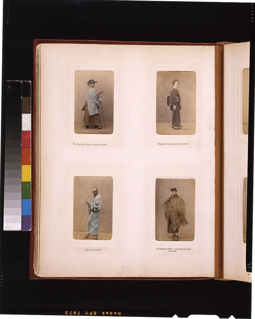 """[Studio portraits of a Japanese officer, a girl in indoor dress, a blind """"shampooer"""" (masseur), and an officer in a straw raincoat]"""