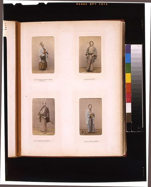 [Studio portraits of a Japanese officer in riding clothes, a student, a police officer and an infantry officer]