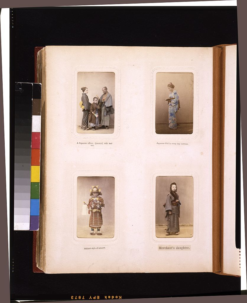 [Studio portraits of a Japanese officer (yaconin) with wife and son, a woman, a child in antique armor, and a merchant's daughter]