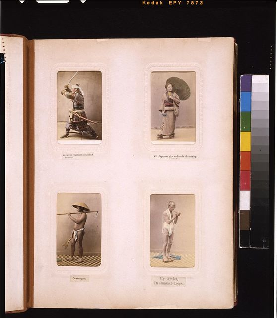 [Studio portraits of a Japanese soldier in amor, a woman with a parasol, a scavenger (garbage collector), and Beato's artist with brush and object]