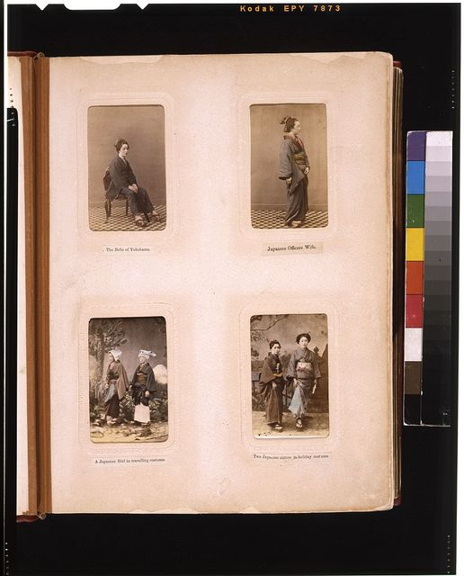 [Studio portraits of  a Japanese woman, an officer's wife, two women, and two sisters]
