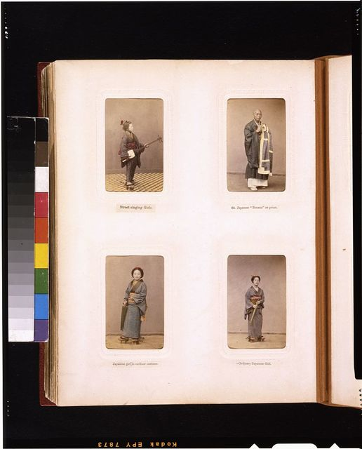 [Studio portraits of a Japanese woman singer with a shamisen, a priest wearing robes, and women]