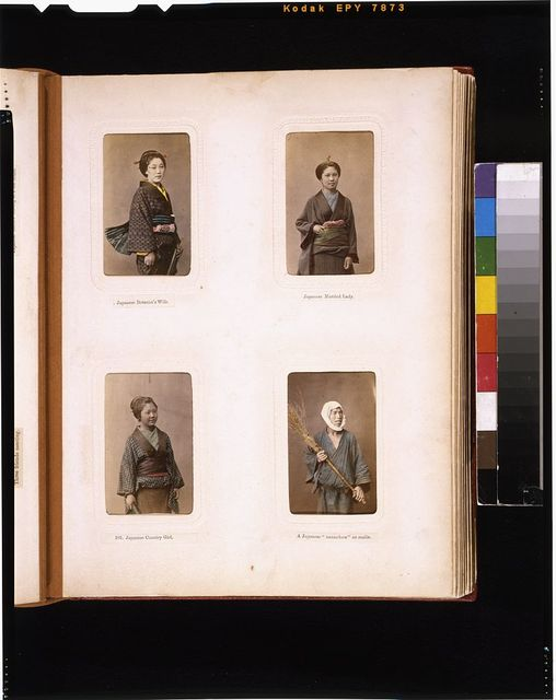 [Studio portraits of Japanese botanist's wife, a married woman, a woman from the country and a laborer with a broom]
