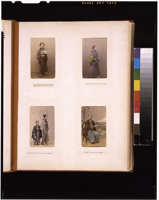 [Studio portraits of Japanese women, a child officer with his mother, and a student from Shindai]