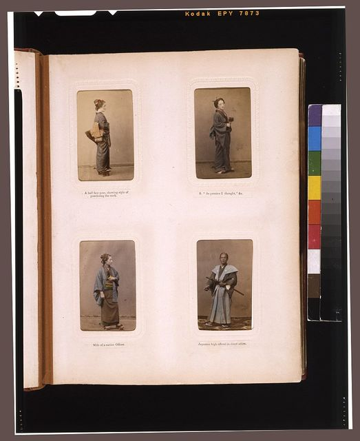 [Studio portraits of Japanese women, the wife of an officer, and a high official in court dress]