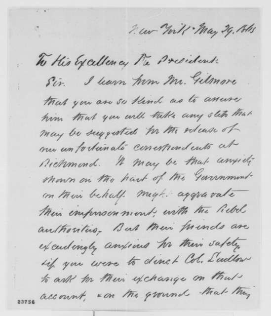 Sydney H. Gay to Abraham Lincoln, Friday, May 29, 1863  (Newspaper correspondents captured by the Confederates)