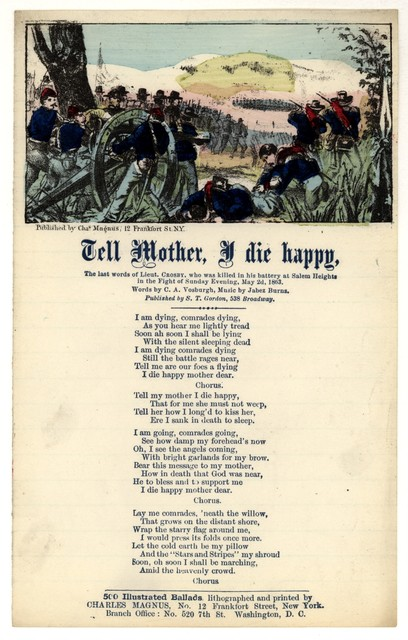 Tell Mother, I die happy. Words by C. A. Vosburgh, Music by Jabez Burns
