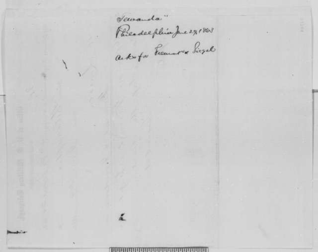 Tewandah to Abraham Lincoln, Monday, June 29, 1863  (Telegram urging the appointment of Fremont and Sigel to command in Pennsylvania)