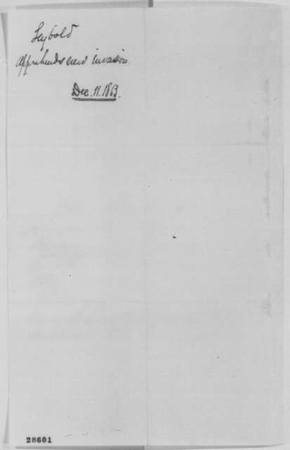Thad S. Seybold to Abraham Lincoln, Thursday, December 10, 1863  (Military affairs)