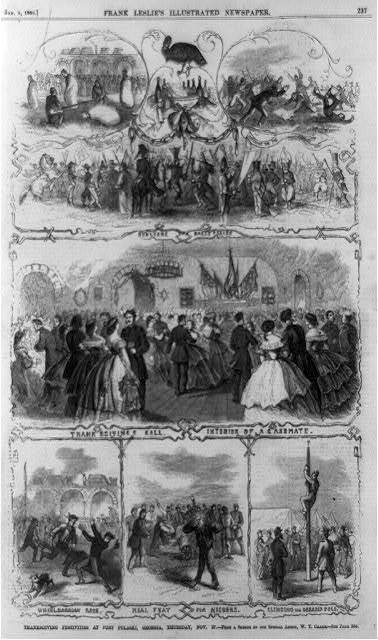Thanksgiving festivities at Fort Pulaski, Georgia, Thursday, Nov. 27 / from a sketch by our special artist, W.T. Crane.