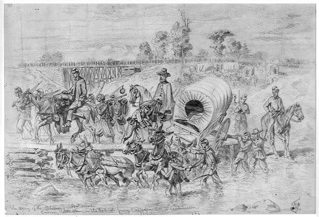 The Army of the Potomac crossing Kettle Run