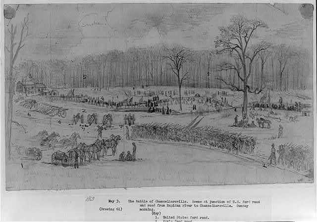 The battle of Chancellorsville. Scene at junction of U.S. ford road, and road to Rapidan River