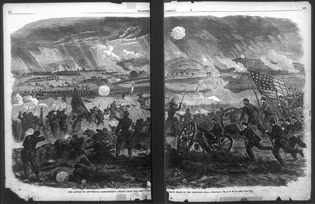 The battle of Gettysburg--Longstreet's attack upon our left centre--Blue Ridge in the distance / from a drawing by A.R. Waud.