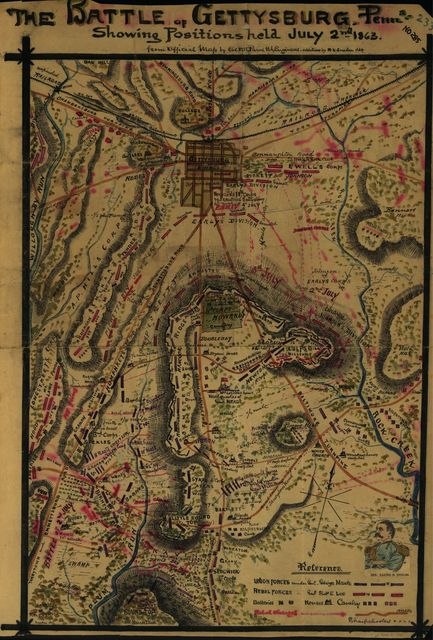 The Battle of Gettysburg Penna. Showing positions held July 2nd, 1863.