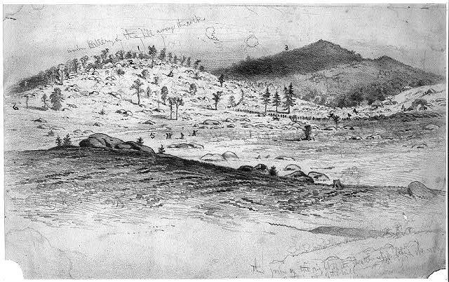 The battle of Gettysburg. View of Little Round Top and the Devil's Den, held by the Fifth Corps